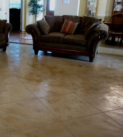 Stained and polished concrete living room floor.