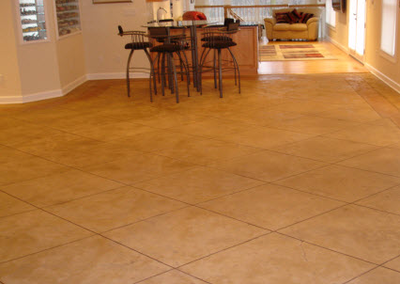 Tile style stamped concrete interior floor.