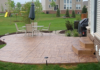 Brown brick style stamped patio in Connecticut.