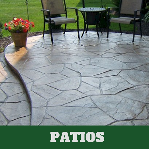 Residential patio in Danbury, CT with a stamped finish.